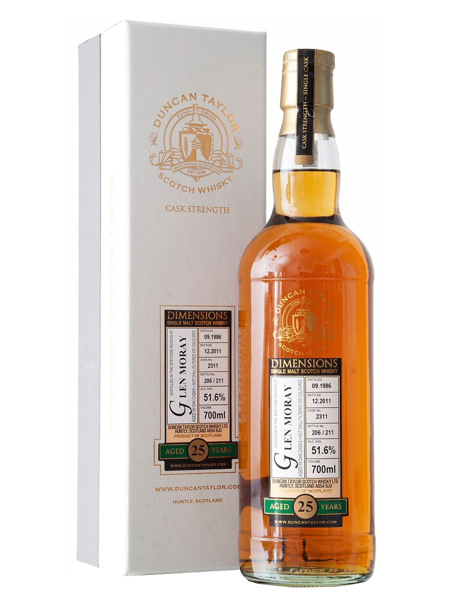 GLEN MORAY  25 YEAR 1986 - 2011  DIMENSIONS  SINGLE MALT