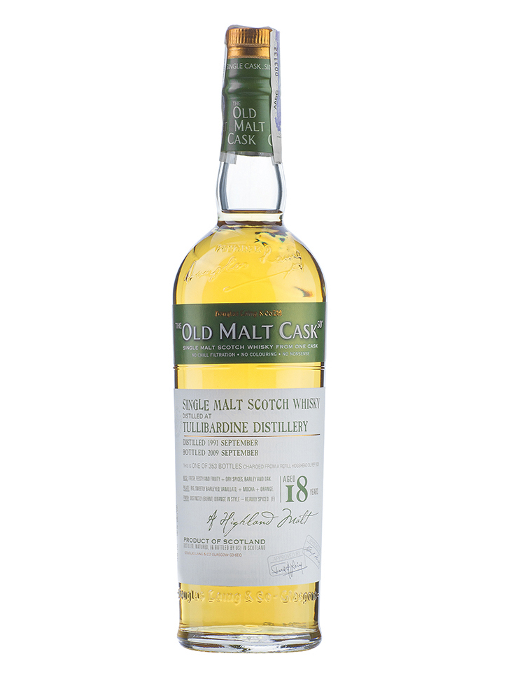 TULLIBARDINE 18 YEAR 1991 - 2009 OLD MALT CASK  SINGLE MALT
