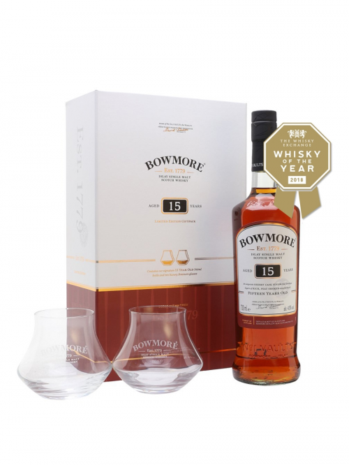 BOWMORE 15 YEARS + 2 GLASSES SET