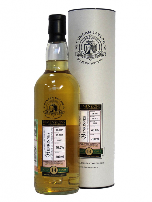 BENRINNES 14 YEAR  1997 - 2011 DIMENSIONS  SINGLE MALT