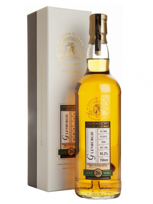 GLENBURGIE 26 YEARS 1985-2012 DIMENSIONS single malt