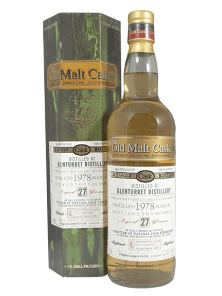 GLENTURRET 27 YEAR 1978 - 2005 OLD MALT CASK  SINGLE MALT
