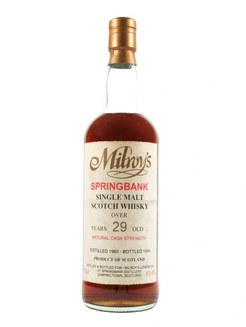 SPRINGBANK 29 YEAR OLD  1965 - 1994  MILROY'S OF SOHO