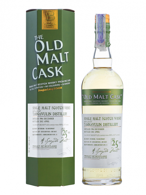 TAMNAVULIN 25 YEAR 1986 - 2011 OLD MALT CASK  SINGLE MALT