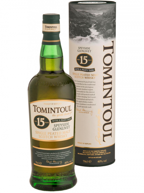 TOMINTOUL 15 YEARS WITH A PEATY TANG single malt