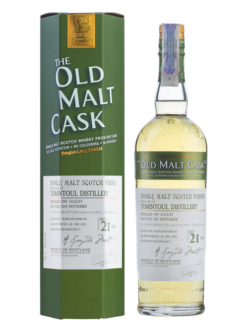 TOMINTOUL 21 YEAR 1989 - 2010 OLD MALT CASK  SINGLE MALT